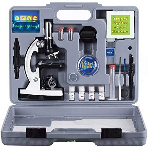 AmScope 120X 1200X 52 pcs Kids Beginner Microscope STEM Kit with Metal Body Microscope