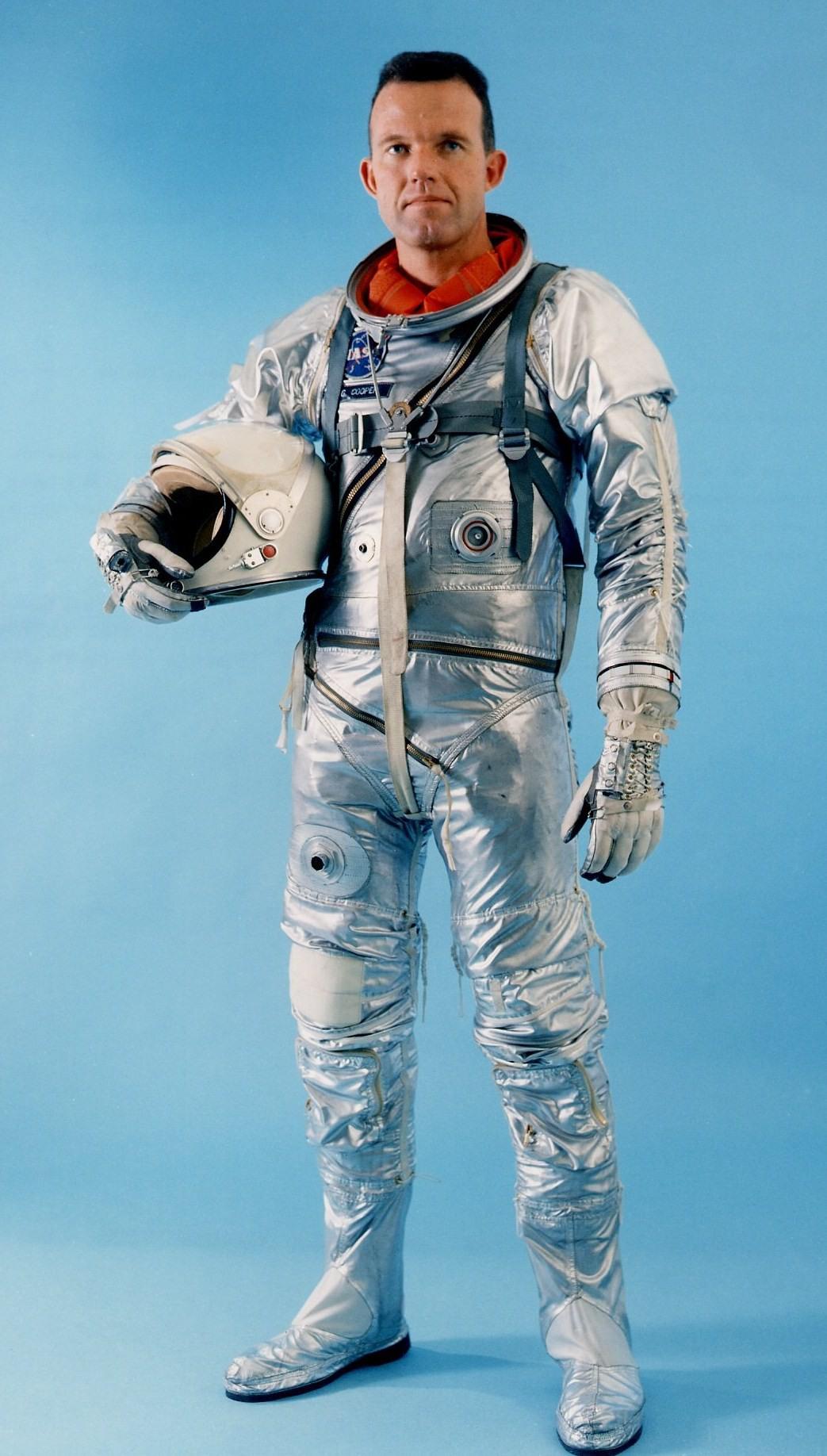 Astronaut Gordon Cooper wearing a Mercury spacesuit
