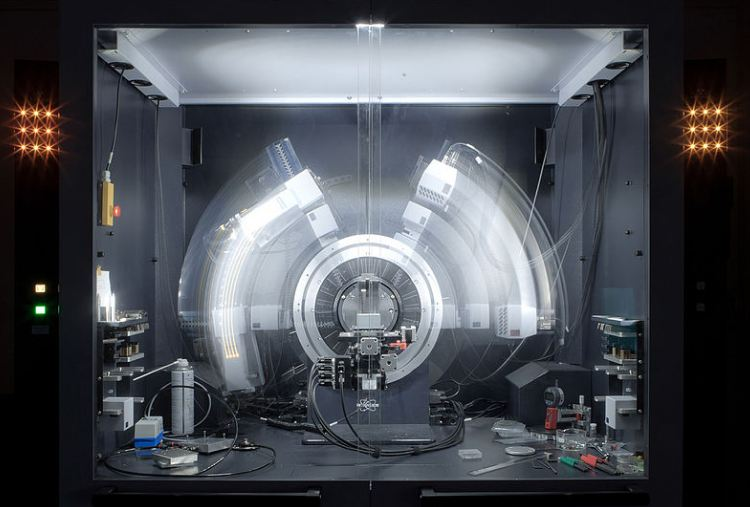 A powder x-ray diffractometer in motion