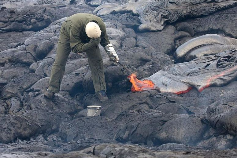 A volcanologist at work