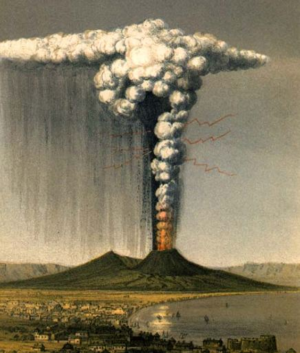 The eruption of Mount Vesuvius in 1822