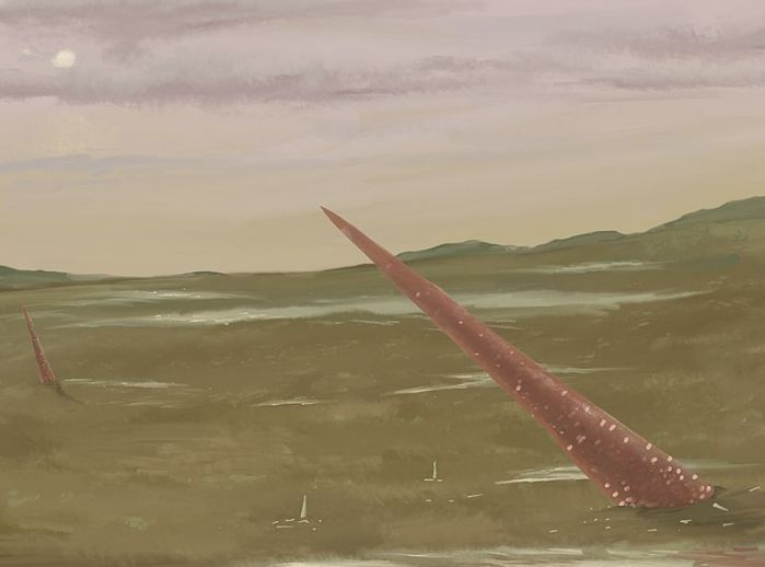 An illustration depicting an organism during the Ordovician-Silurian Extinction event.